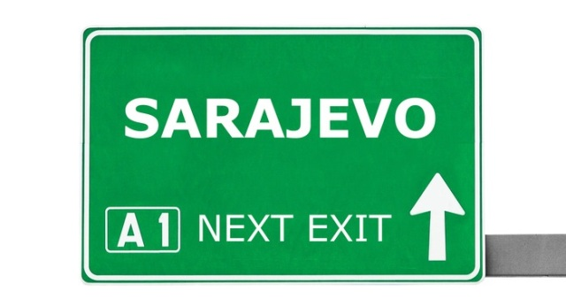 SARAJEVO road sign isolated on white