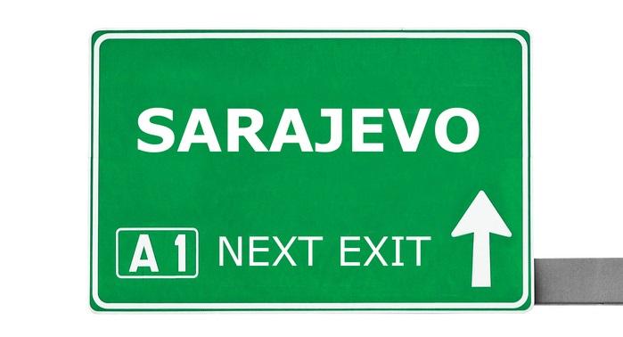 SARAJEVO road sign isolated on white