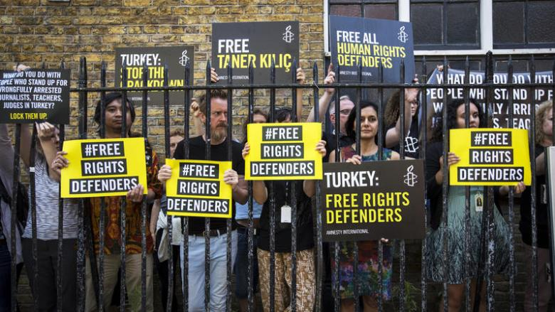 Demonstration against the detention of Amnesty Turkey staff, London, July 2017